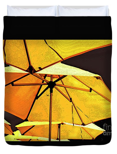 Yellow Umbrellas Duvet Cover