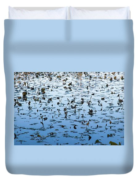 Yellow Water Lilies In Deep Silhouette Duvet Cover