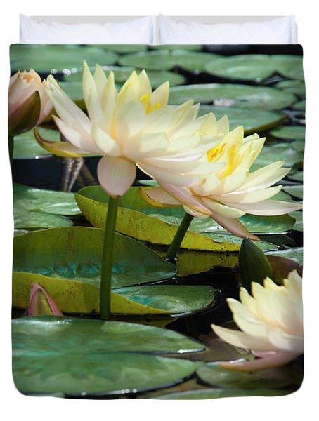 Yellow Water Lillies - Longwood Gardens Duvet Cover