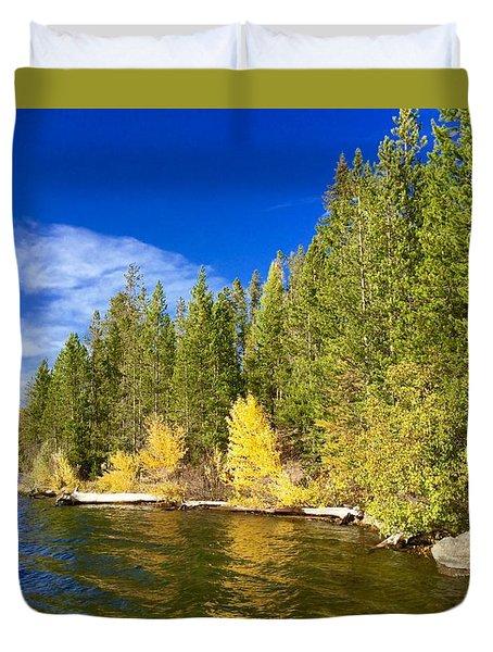 Golden Waters Duvet Cover by Jennifer Lake