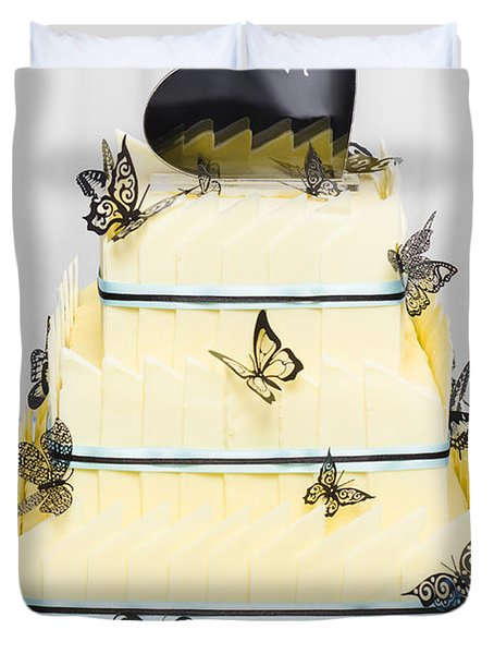 Yellow Wedding Cake Made Of White Chocolate Duvet Cover