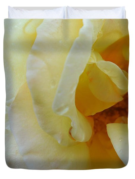 Yellow Wet Rose Duvet Cover