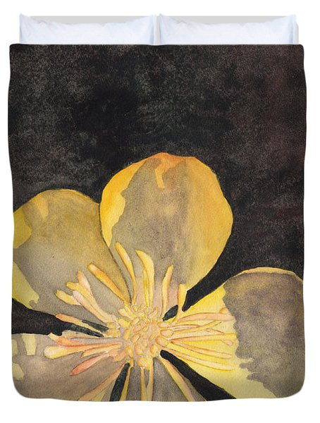 Yellow Wild Flower Duvet Cover by Ken Powers