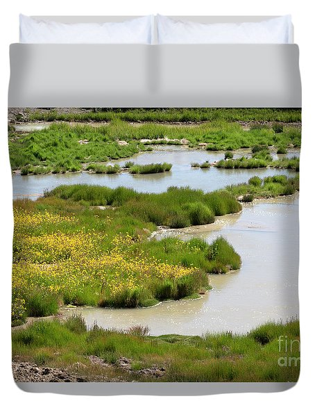 Yellow Wildflowers At Mud Volcano Area In Yellowstone National Park Duvet Cover by Louise Heusinkveld