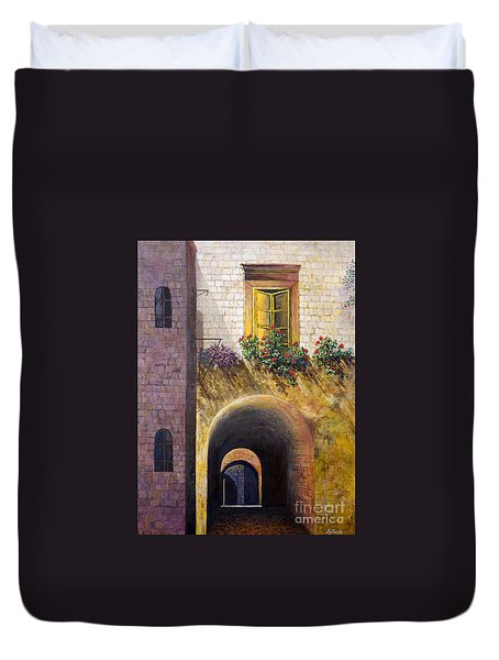 Duvet Cover featuring the painting Yellow Window by Lou Ann Bagnall
