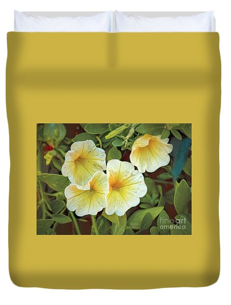 Yellows And Whites And Greens Duvet Cover