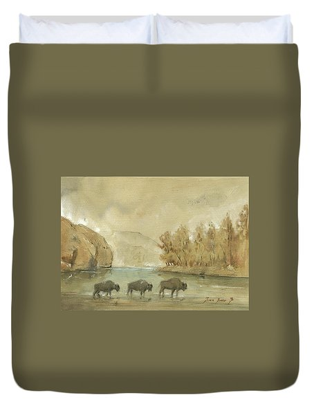 Yellowstone And Bisons Duvet Cover