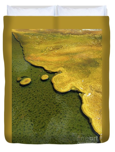 Duvet Cover featuring the photograph Yellowstone Art. Yellow And Green by Ausra Huntington nee Paulauskaite