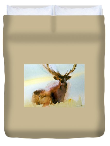 Yellowstone  Elk Duvet Cover by Ed Heaton