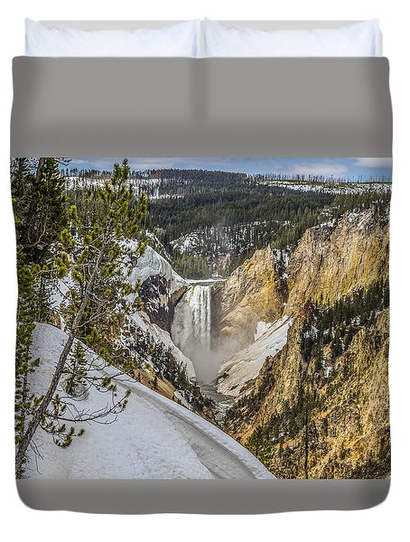 Yellowstone Falls In Winter Snow Duvet Cover by Yeates Photography