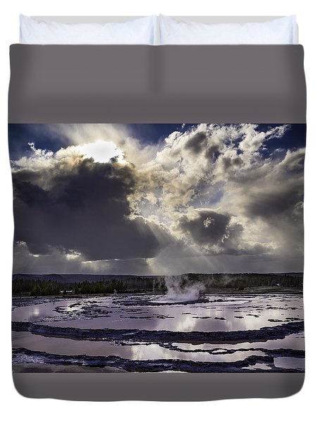 Duvet Cover featuring the photograph Yellowstone Geysers And Hot Springs by Jason Moynihan