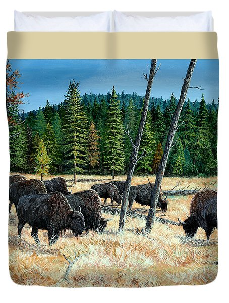Yellowstone Grazers Duvet Cover