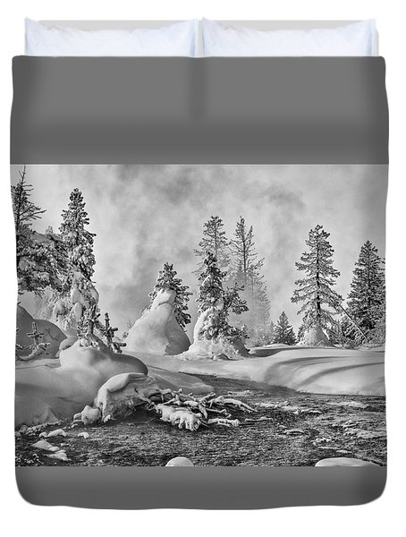 Duvet Cover featuring the photograph Yellowstone In Winter by Gary Lengyel