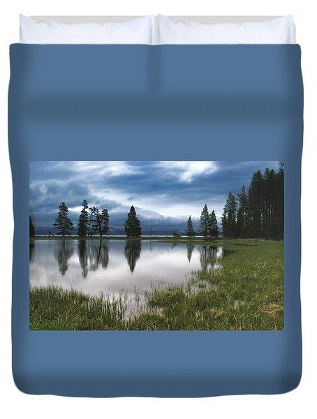 Yellowstone Lake Reflection Duvet Cover