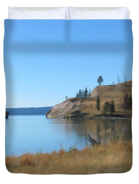 Duvet Cover featuring the digital art Yellowstone Lake Se by Gary Baird