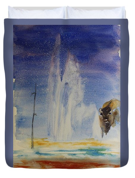 Yellowstone Memories Duvet Cover by Geeta biswas