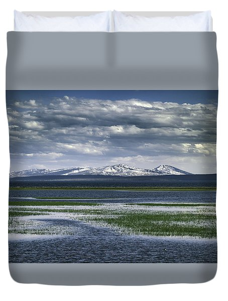 Duvet Cover featuring the photograph Yellowstone Mountain Scape by Jason Moynihan