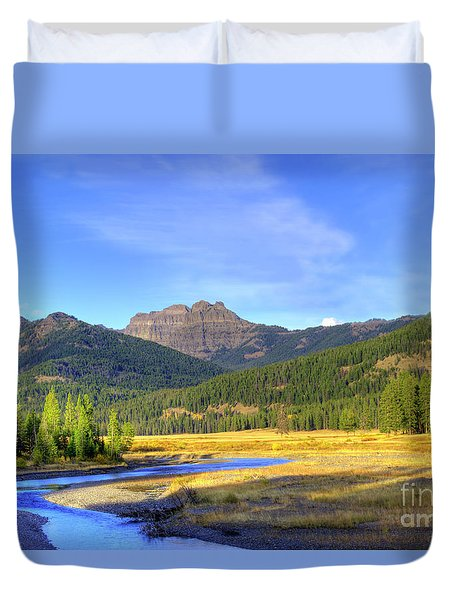 Yellowstone National Park Landscape Duvet Cover by Juli Scalzi