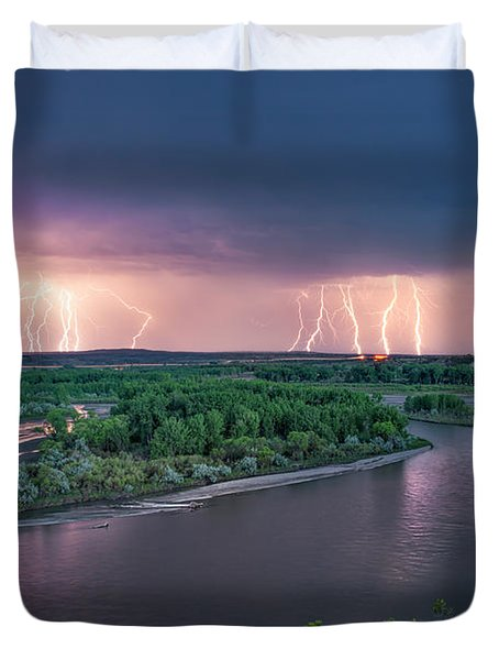 Yellowstone River Lightning Duvet Cover