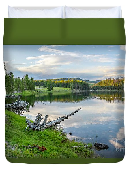 Yellowstone River Off Grand Loop Duvet Cover