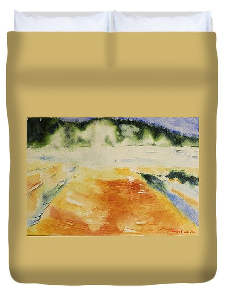 Duvet Cover featuring the painting Yellowstone, Watercolor Gift, Souvenir  by Geeta Biswas
