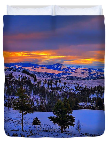 Yellowstone Winter Morning Duvet Cover