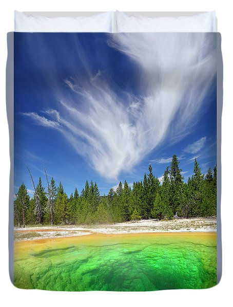 Duvet Cover featuring the photograph Yellowstone's Morning Glory Pool Pool And Awesome Clouds by Bruce Gourley