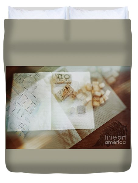 Duvet Cover featuring the digital art  Yes Or No by Ariadna De Raadt