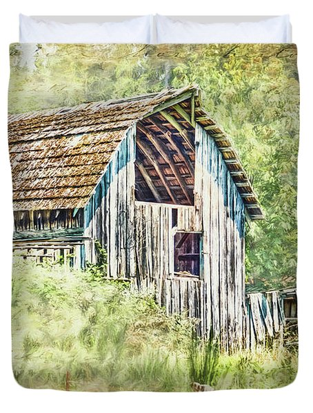 Duvet Cover featuring the photograph Yesteryear Barn by Jean OKeeffe Macro Abundance Art