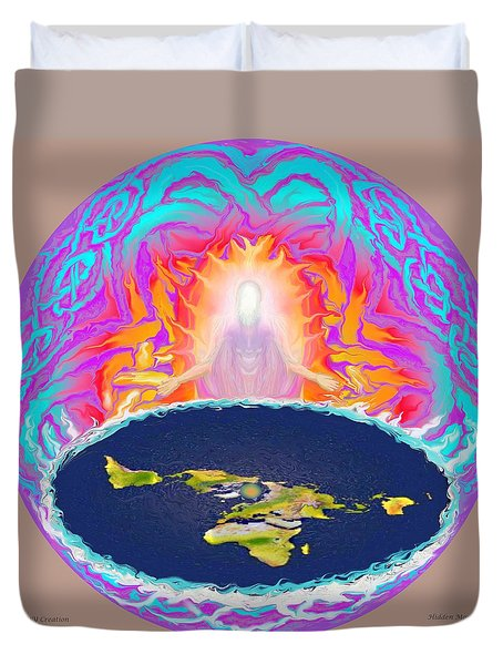 Duvet Cover featuring the painting Yhwh Creation by Hidden Mountain