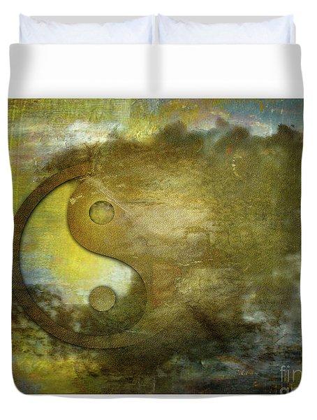 Ying And Yang Unbalanced Duvet Cover by Deborah Nakano