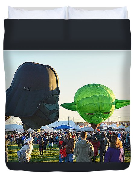 Duvet Cover featuring the photograph Yoda And Darth by AJ Schibig