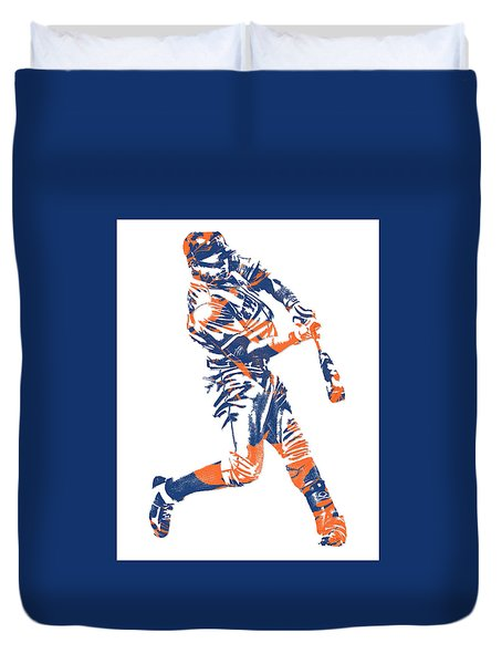 Yoenis Cespedes New York Mets Pixel Art 1 Duvet Cover