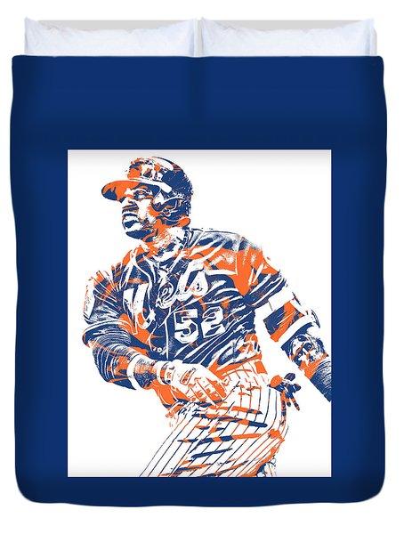 Yoenis Cespedes New York Mets Pixel Art 10 Duvet Cover