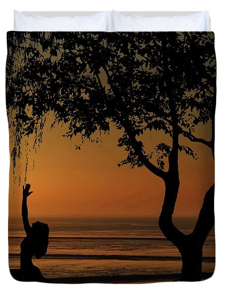 Yoga By The Bay At Sunset Duvet Cover