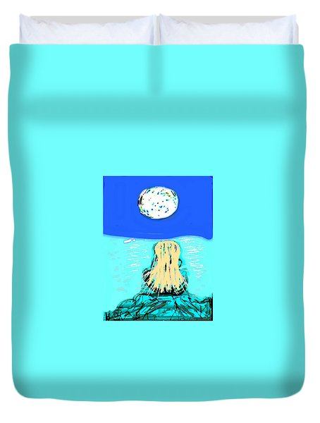 Yoga By The Sea Under The Moon Duvet Cover