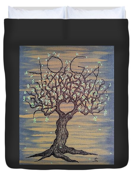 Duvet Cover featuring the drawing Yoga Love Tree by Aaron Bombalicki