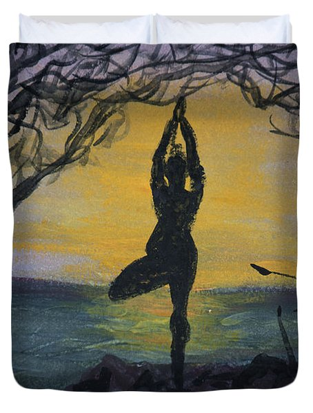Yoga Tree Pose Duvet Cover
