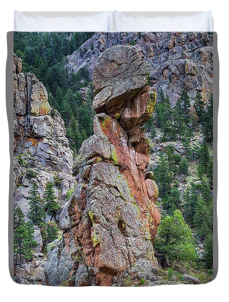 Duvet Cover featuring the photograph Yogi Bear Rock Formation by James BO Insogna