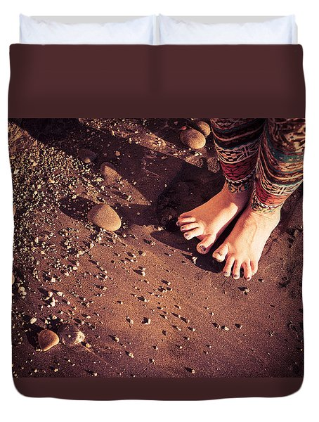 Duvet Cover featuring the photograph Yogis Toesies by T Brian Jones