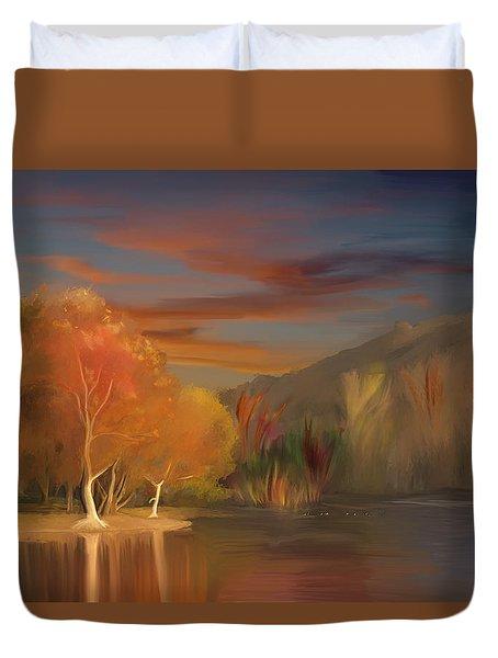 Yorba Linda Lake By Anaheim Hills Duvet Cover by Angela A Stanton