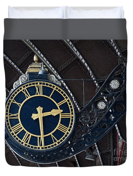 York Railway Station Clock Face Duvet Cover by David  Hollingworth
