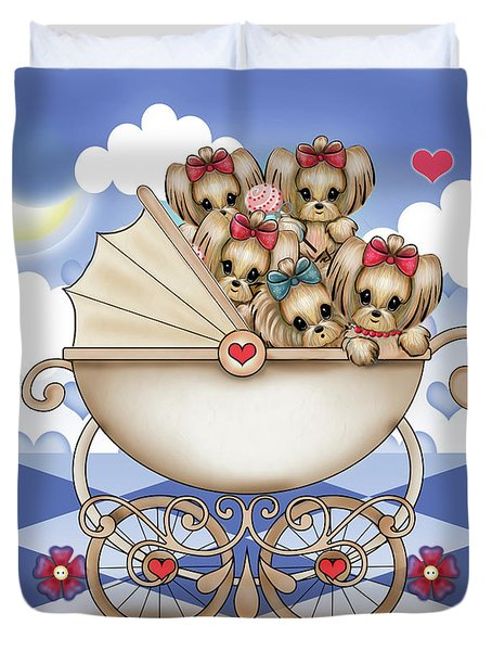 Duvet Cover featuring the painting Yorkie Babies Strolling  by Catia Lee