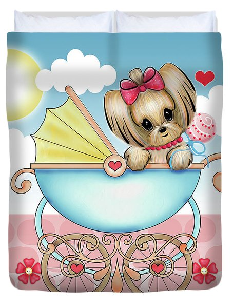 Duvet Cover featuring the painting Yorkie Baby Strolling  by Catia Lee
