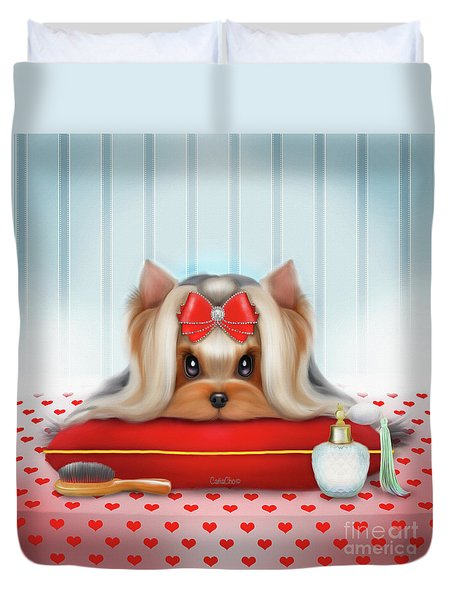 Duvet Cover featuring the painting Yorkie Beauty by Catia Lee