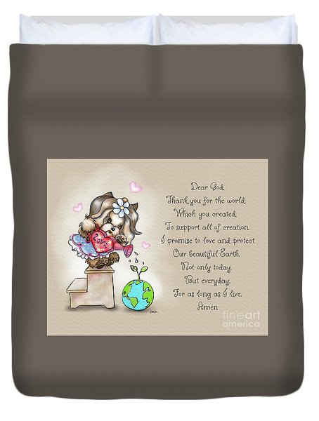 Duvet Cover featuring the painting Yorkie Earth Day Prayer by Catia Lee
