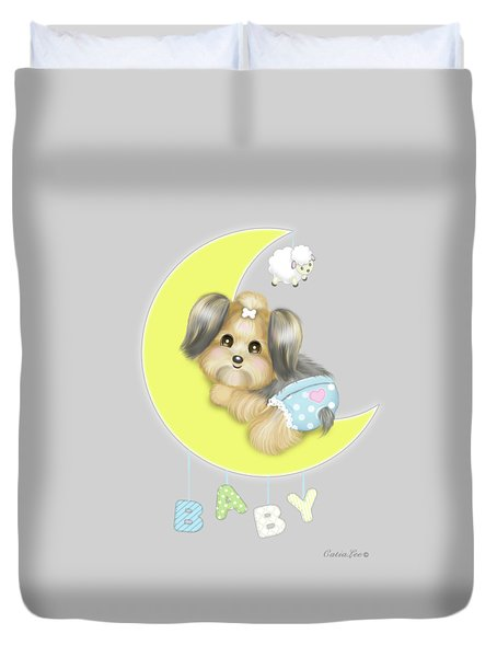 Duvet Cover featuring the painting Yorkie Fofa Baby by Catia Lee