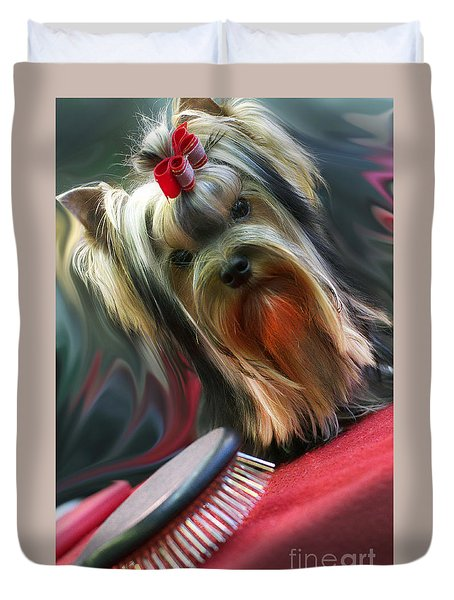 Yorkie Duvet Cover by Graham Hawcroft pixsellpix