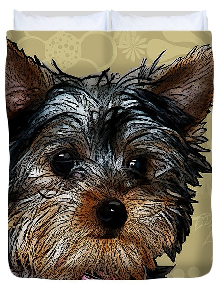 Yorkie In Beige Duvet Cover
