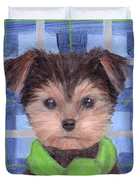 Yorkie Poo With Scarf Duvet Cover
